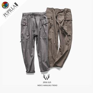 代购日系潮牌复古工装裤宽松休闲裤纯色个性系带长裤小脚裤长裤子