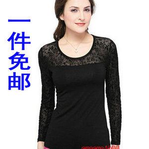 2016秋装修身低领蕾丝打底衫显瘦圆领打底蕾丝长袖T恤女