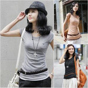 2016春夏装女装 韩版纯色低领短袖打底衫T恤